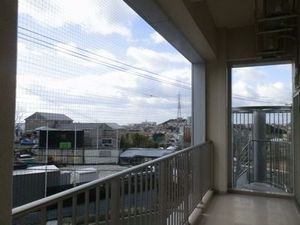 神戸市北区の学校の寮ベランダの鳥害防止工事
