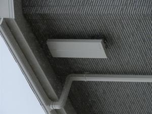明石市の一戸建ての住宅の壁に取り付けてあるデザインアンテナボックスに小鳥が夜中のねぐらにしていて糞を落とすので困っているとの相談でした。