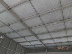 工場内天井へのはと除けネット張りです。