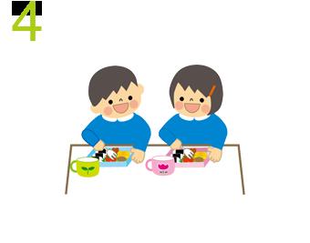 給食の準備・給食(11:00〜12:00)