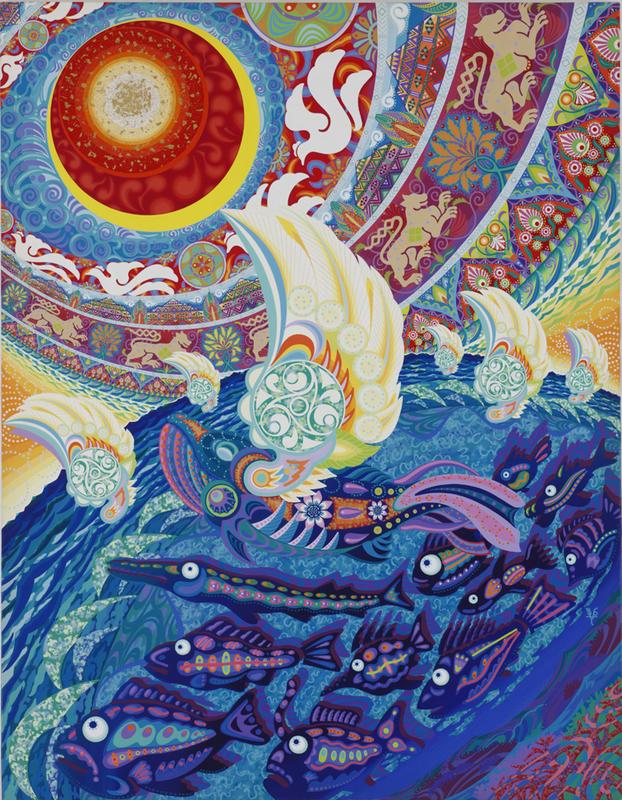 005 「ワンダフルワールド」 F50号 キャンバス/アクリル 2001年制作 2002年ニューヨーク、ウエストウッドギャラリー「Japan Art Alliance」出展 販売価格¥2,000,000(税別/額付き)