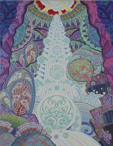 006 「水の塔」 F50号 キャンバス/アクリル 2001年制作  販売価格¥2,000,000(税別/額付き)