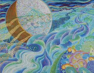 008 「月の川」 F50号 キャンバス/アクリル 2009年制作   土、水、火、風、空シリーズの「水」 販売価格¥2,400,000(税別/額付き)