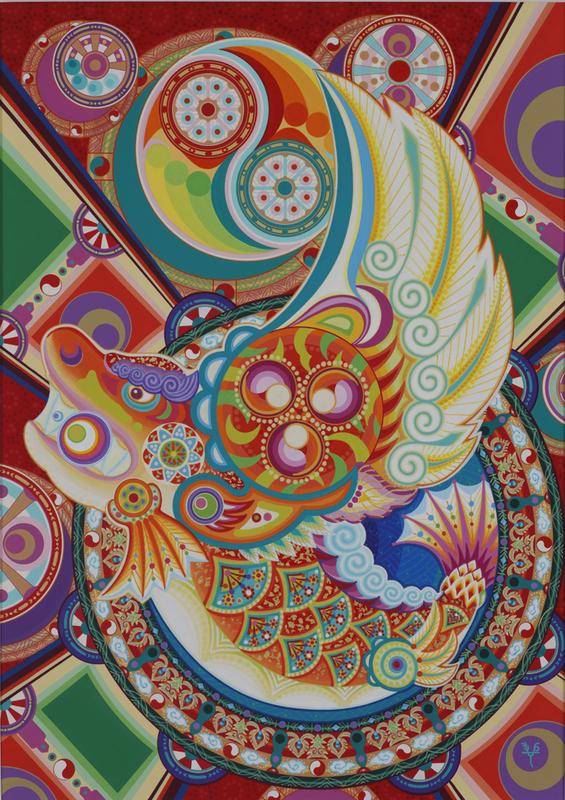 020 「祭り」 A2キャンソンボード/アクリル2000年制作 2000年名古屋祭りポスター、コンペ作品 販売価格¥500,000(税別/額付き)
