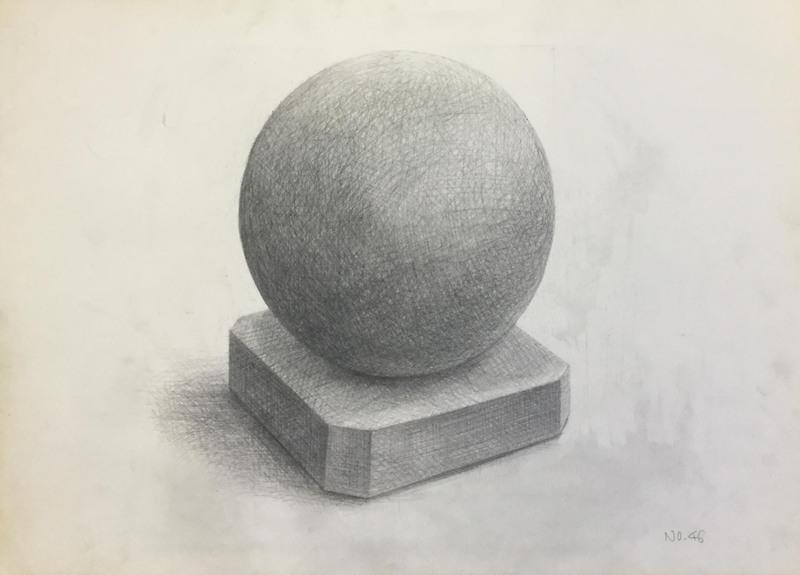 003_鉛筆デッサン 石膏球体 55×40㎝