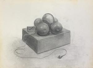 004_鉛筆デッサン 木のおもちゃと紙箱 55×40㎝