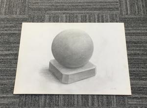 006_鉛筆デッサン 石膏球体 55×40㎝