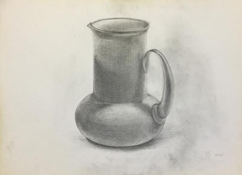 010_鉛筆デッサン 白い花瓶 55×40㎝