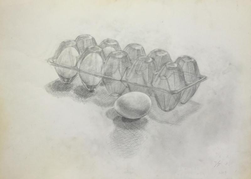 014_鉛筆デッサン 卵と卵パック 55×40㎝
