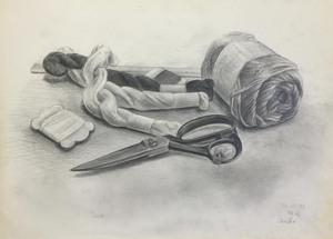 016_鉛筆デッサン ハサミと毛糸と仕付糸 55×40㎝