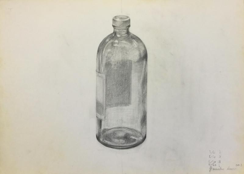 018_鉛筆デッサン トーメイの瓶 55×40㎝