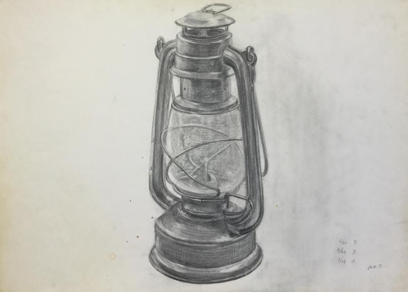 019_鉛筆デッサン カンテラ 55×40㎝
