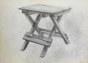 022_鉛筆デッサン 木製折りたたみチェア 55×40㎝