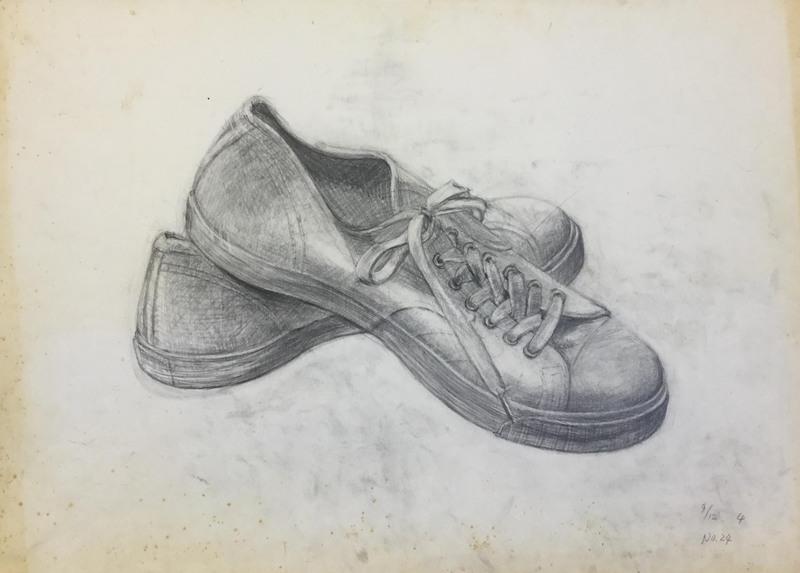 024_鉛筆デッサン 運動靴 55×40㎝