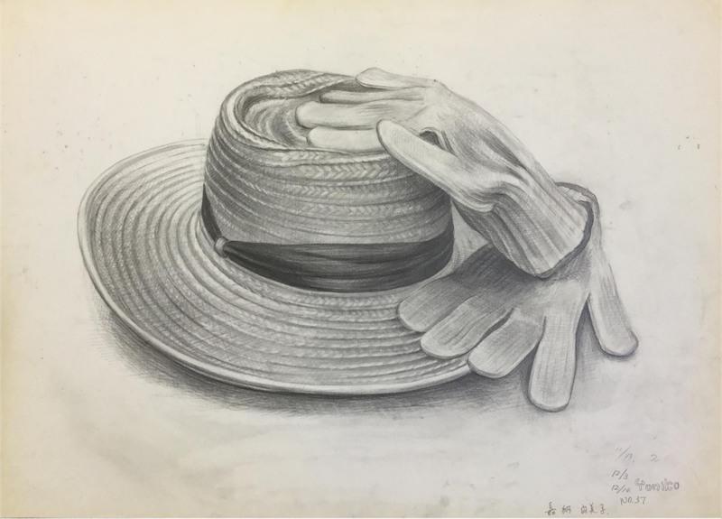 025_鉛筆デッサン 麦わら帽子と軍手 55×40㎝