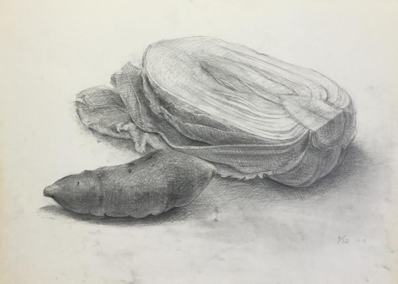 026_鉛筆デッサン 白菜とサツマイモ 55×40㎝