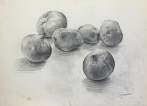 027_鉛筆デッサン ジャガイモとタマネギ 55×40㎝