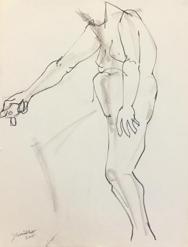 045_人物クロッキー(2分) チャコールペン 50×65㎝