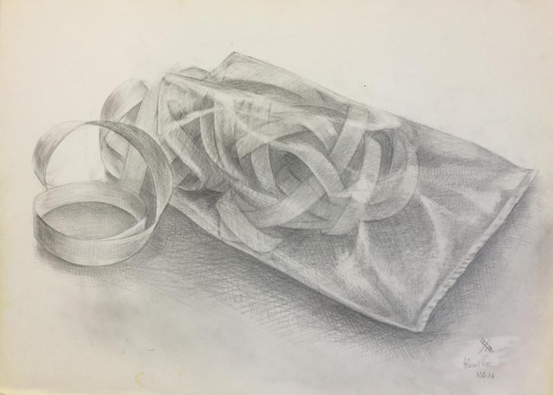 015_鉛筆デッサン 紙テープとビニール袋 55×40㎝