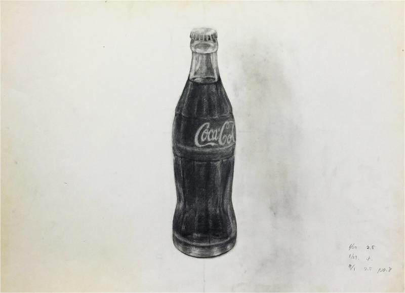 017_鉛筆デッサン コカコーラ 55×40㎝